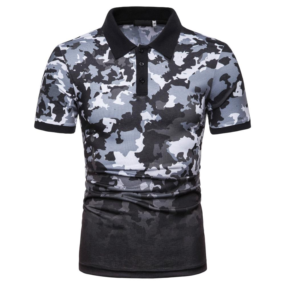 Casual Men's clothing Lapel   Polo   Shirt Men Camouflage printed Short-sleeved Fashion Men   Polo   Shirt Summer New Red Blue