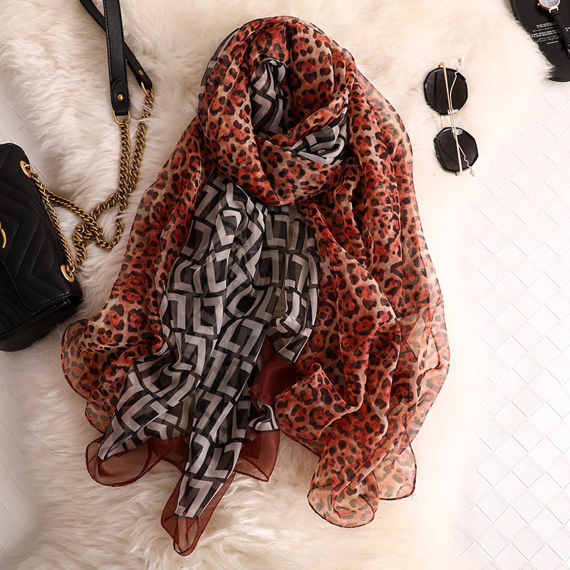 2019 designer brand women scarf fashion summer Leopard Print silk scarves oversize pashmina for lady foulard bandana hijabs in Women 39 s Scarves from Apparel Accessories