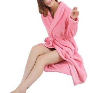 Image 2 - LITTHING Lovers Dress hombre mujer cálido Super suave franela Coral polar largo bata baño hombre Kimono Albornoz bata Batas