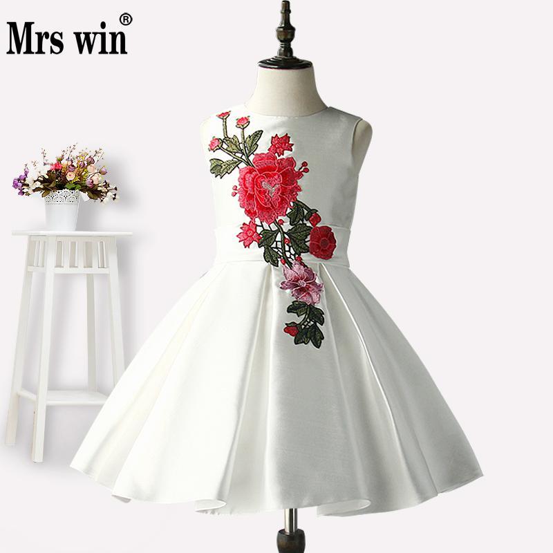 Flower     Girl     Dresses   2018 New Mrs Win Elegant White O-neck Sleeveless Luxury Embroidery Ball Gown For   Girls   Robe De Bal Enfant X