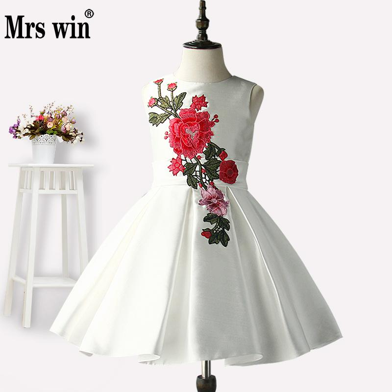 Flower Girl Dresses 2018 New Mrs Win Elegant White O-neck Sleeveless Luxury Embroidery Ball Gown For Girls Robe De Bal Enfant X