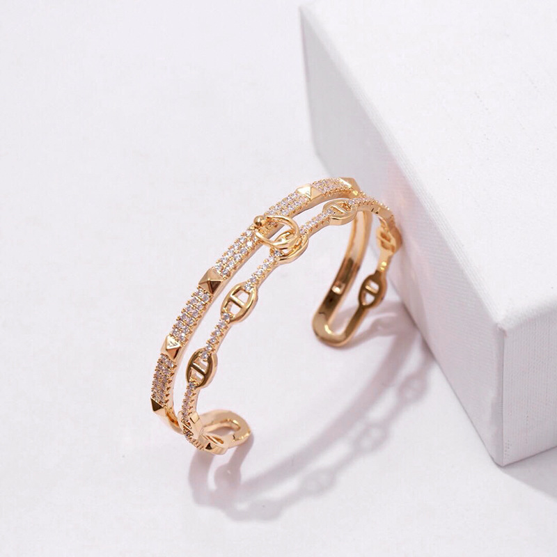 Taille d'ouverture strass et Rivet femmes Bracelet de mariage nouvelle mode titane acier Micro pavage CZ Bracelet et Bracelet bijoux