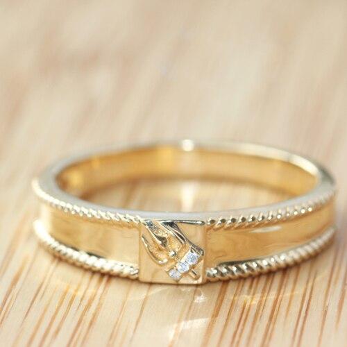 Genuine 18K Yellow Gold 5mm Real Diamond Engagement Wedding Ring