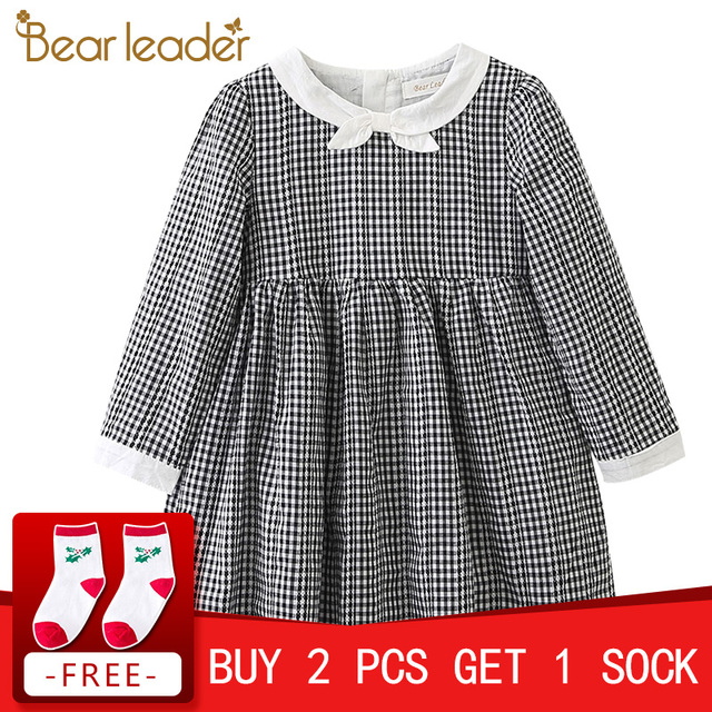 Bear Leader Girls Dress 2017 Brand Plaid Princess Dresses Autumn Style Long Sleeve Black Plaid Design for Children Clothing 3-7Y