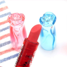 Creative Lipstick Erasers Plastic Rose Pencil Rubber Eraser for Kids Novelty Prizes Toy Office School Supplies Stationery