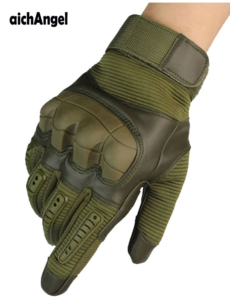 Military Tactical Rubber Hard Knuckle Full Finger Gloves Army Paintball Shooting Airsoft PU Leather Touch Screen Gloves