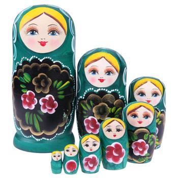 8 teile/satz Handgemachte Holz Russische Grün Mädchen Matryoshka Puppen Nesting Dolls Geschenk Baby Kinder Spielzeug Geschenk Dekoration