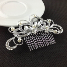 2Pcs Wedding Party Bride Bridal Floral Hair Comb Flower Tiaras Crystal