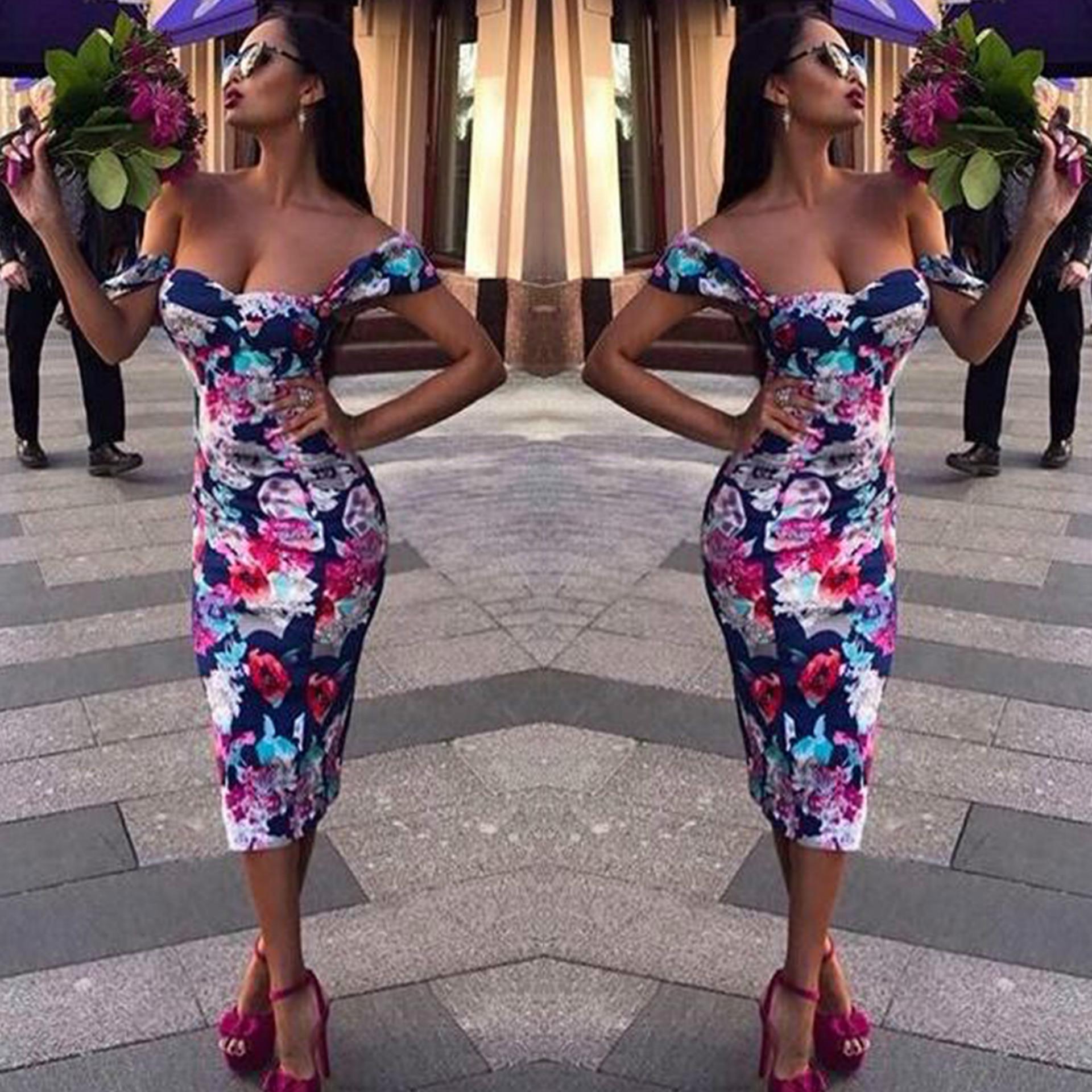f6a6645a06 Stylowe ubrania Kobiet Boho off ramię Kwiatowy print sexy Poliester ...