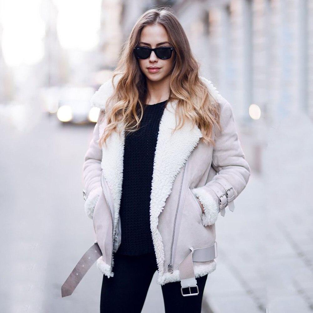 Winter Coat Women 2018 Fashion Outerwear Womens Faux Fur Fleece Coat Outwear Warm Lapel Biker Motor Aviator Jacket