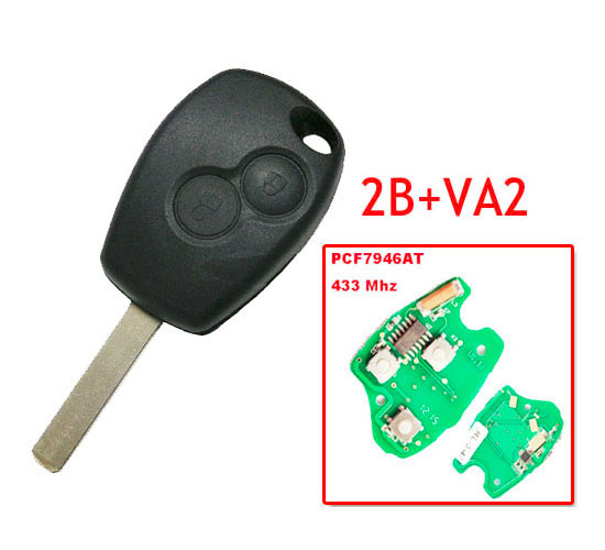 Free shipping 2 Button Remote Key With Pcf7946 Chip Round Button With VA2 Blade for Renault