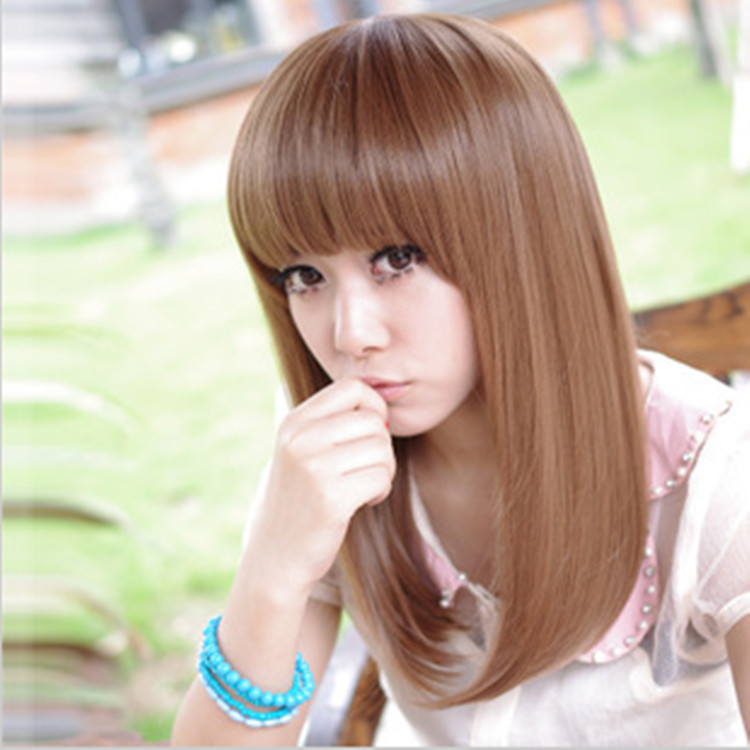 midldle length curly wig bangs sexy women light brown bob medium hairstyle heat resistant synthetic - Uri's Bag Factory store