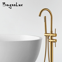 Modern Luxurious Tub Filler Floor Mounted Bathtub Faucets with Hand Shower Standing Bath Faucet Single Handle Mixer Tap DL9721