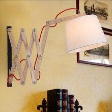 American Vintage 110V/220V E27 Wall Lamp Cloth Oak Wood Retractable Wall  Sconce Lights Lamparas Home Lighting Fixture Lights