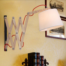 American vintage Oak Wood wall lamp Cloth Retractable Wall Sconce Lights Lamparas Home Lighting Fixture lights 110V/220V E27