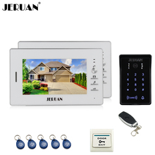 JERUAN wired 7 inch video doorphone intercom system 2 white monitor 700TVL RFID waterproof touch key password keypad camera