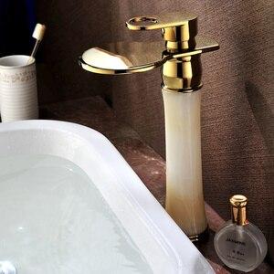 Бесплатная доставка, современный кран для раковины с одним отверстием из золота и камня, смеситель для раковины