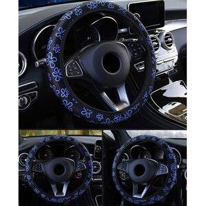 Image 5 - 38cm capa de volante do carro capa de volante para mulher capa de roda flores impressão antiderrapante funda volante acessórios do carro