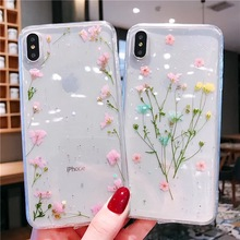Tfshining Real Dried Flowers Transparent Case For On iPhone 7 8 Plus X 6 6S XS Max XR Handmade Floral TPU Back Cover Gift