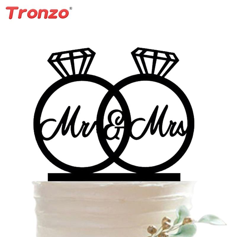 Tronzo 2018 Uus pulmakook Topper Mr & Mrs Akrüül Sõrmused Armas linnud Romantiline Pulmad Dekoratsioon Mariage