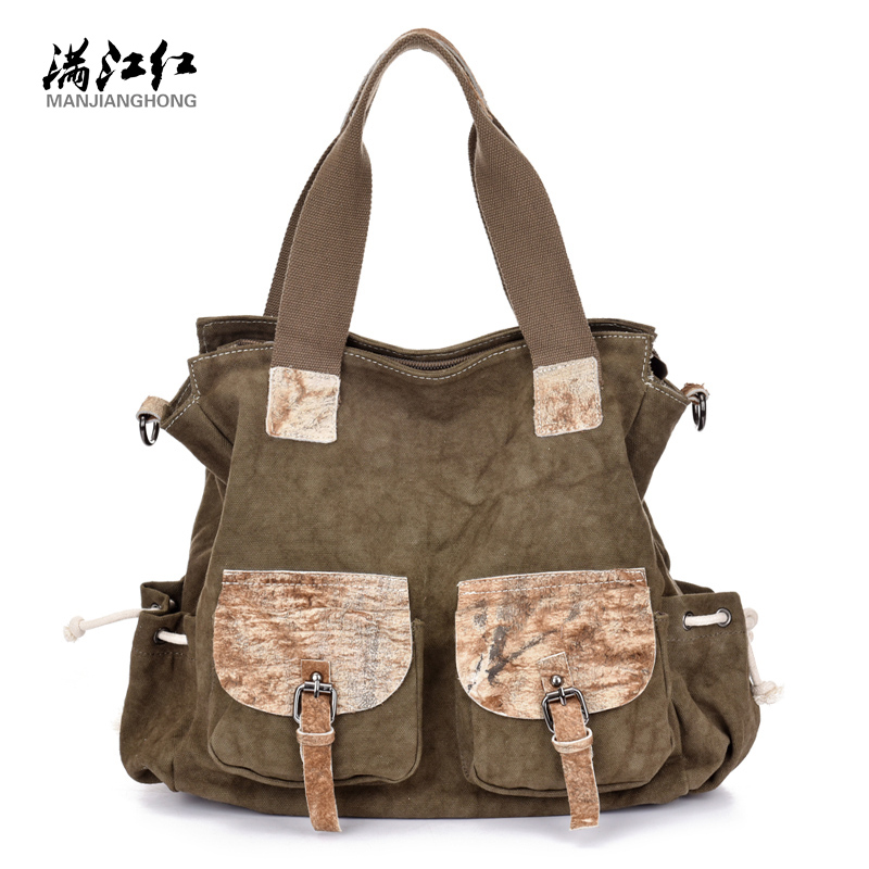 Manjianghong fashion canvas with leather casual tote vintage vogue women shoulder bag style patchwork classic daily handbags squirrel fashion large canvas shoulder bags patchwork vogue pattern brand casual vintage big color block panel women s handbags