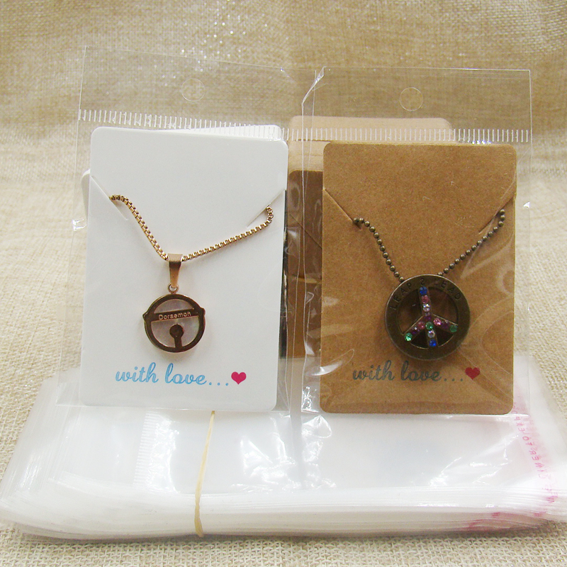 2design Kraft/white Handmade With Love  Paper Jewelry Necklace Pendant Packing Card 100pcs +100pcs Opp Bag 5*7cm