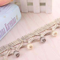 12M/Lot 5cm Wide Cross Wooden Beads Curtain Accessories Decorative Lace Trim Tassel Fringes Ribbon DIY Drapery Cloth Sewing