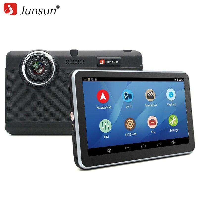 Junsun 7 дюймов Видеорегистраторы для автомобилей GPS навигации Android планшетный ПК Bluetooth, Wi-Fi FHD 1080 P Камера Регистраторы автомобиля GPS автомобильный навигатор