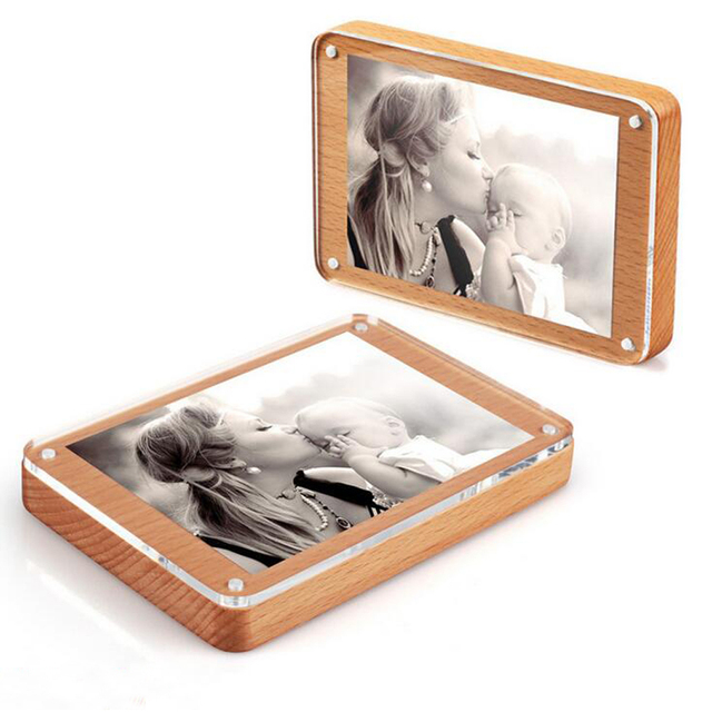 Hot Sale 4x6 Solid Wood Wooden Acrylic Photo Frames With Magnetic