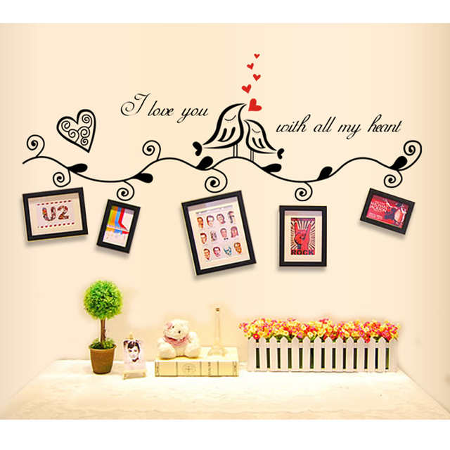 Fashion Love Birds Quotes Vinyl Wall Stickers Sticker For Wedding
