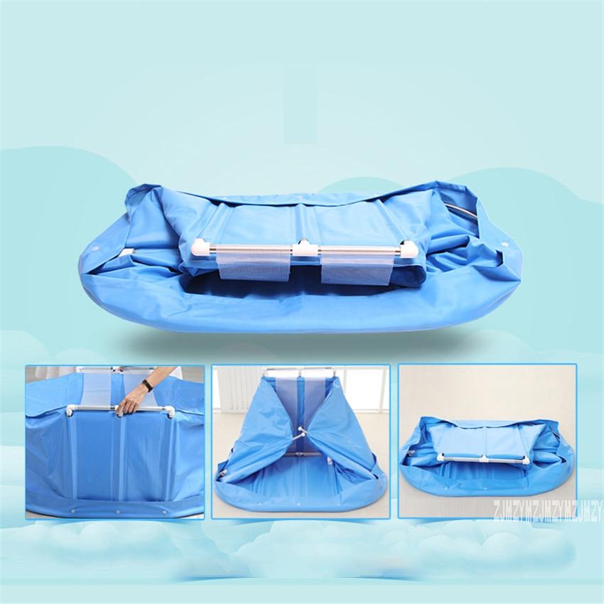 Yr001 adulto crianças banheira balde de banho de algodão-acolchoado dobrável barril de banho suporte de aço inoxidável com capa 120*75*70 cm-1