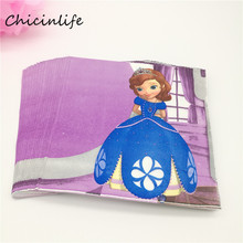 Chicinlife 20pcs/lot Sofia Princess Paper Napkins Birthday Party Decoration Wedding Festive & Party Table Supplies Paper Napkin