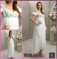 2016 elegant cheap Off The Shoulder Beaded chiffon evening dress pleated empire pregnant white evening gowns hot sale