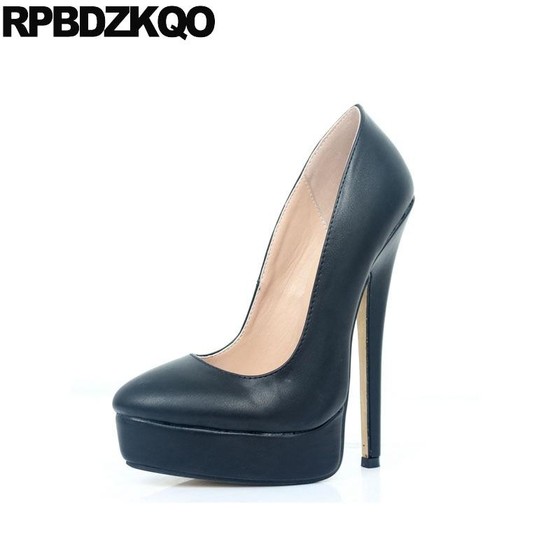 12 44 exotic dancer women stiletto snakeskin crossdresser black round toe  pumps 18cm sexy high heels 13 45 big size shoes gothic f4a388a26338