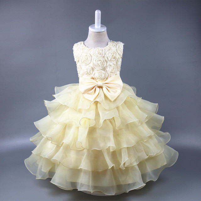 Летнее Модное детское платье принцессы с бантом и розами свадебные