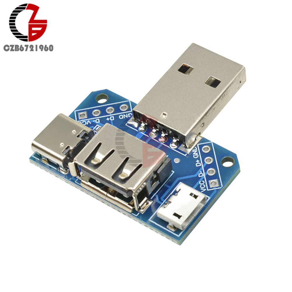 5V USB Head Switchboard USB Male to <font><b>Female</b></font> to Type-c to Micro USB to <font><b>2.54mm</b></font> 4P USB Converter Adapter <font><b>Connector</b></font> Module XY-USB4 image