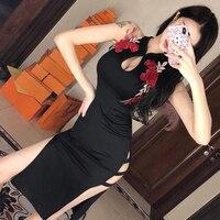 2019 summer black chinese women traditional dress silk satin cheongsam sexy qipao flower wedding dress vintage qipao party dress