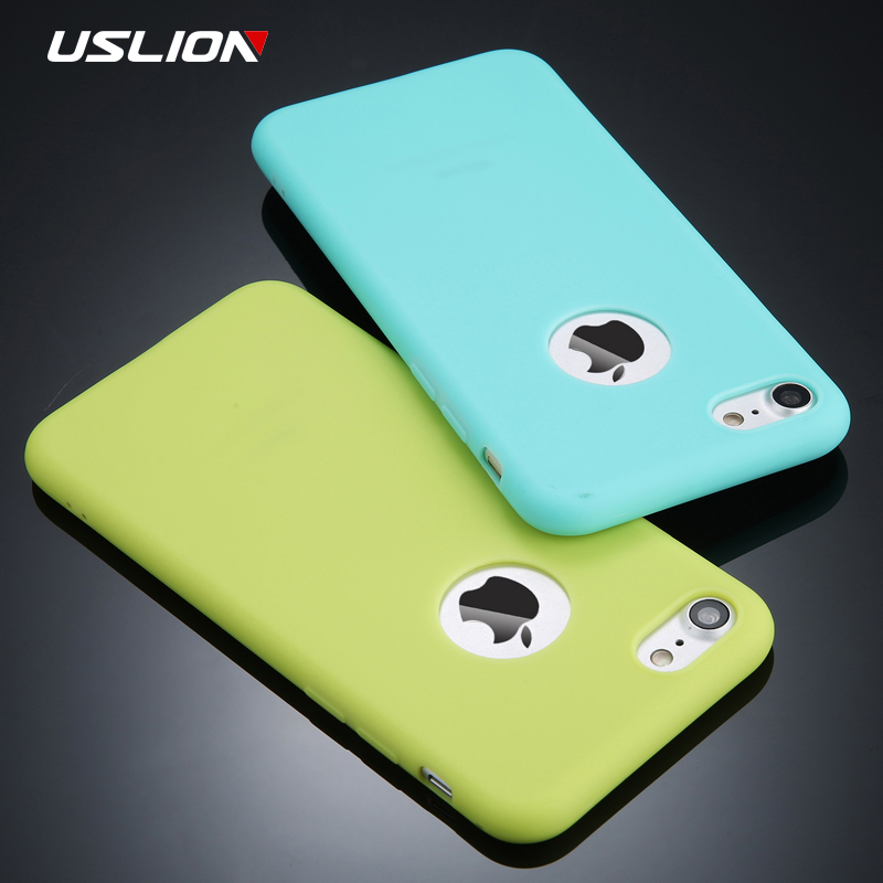 USLION Candy Color Phone Case For iPhone 7 Plus Plain Soft Silicon TPU Back Cover Cases For iPhone X 7 6 6S Plus 5 5S SE Coque