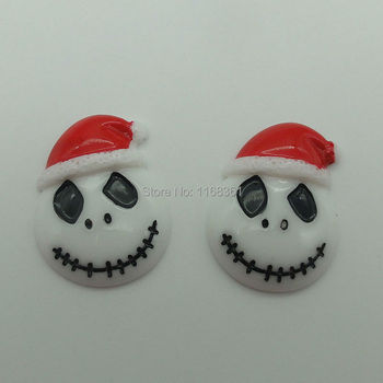 1pcs/lot resin flat back Halloween Skull with hat 29mm Cabochons Scrapbooking Hair Bow Center DIY Christmas decration C103-8 image