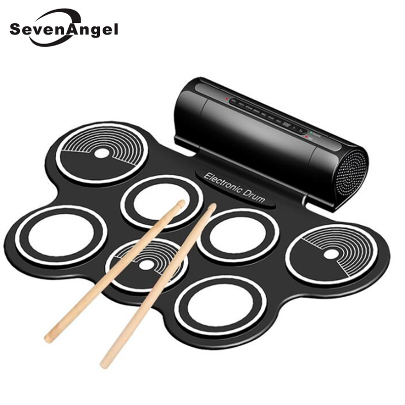Professional Portable Roll Up USB MIDI Machine Electronic Drums Pad Kit  Percussion Instruments with Drumstick for Music Lover cheerlink md 1008 usb portable multifunctional professional midi electronic drum multicolored