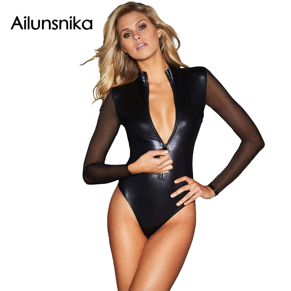 Ailunsnika 2017 Autumn Women Sexy Black Mesh Catsuit Long Sleeve Zipper Front Leotard Wet Look Faux Leather Bodysuit DL32125