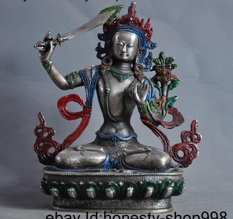 Ancien tibet bouddhisme peinture argent Manjusri kwan-yin GuanYin Bodhisattva statueAncien tibet bouddhisme peinture argent Manjusri kwan-yin GuanYin Bodhisattva statue