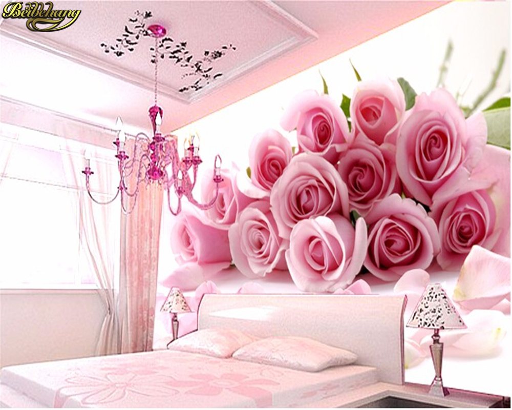 US $8 55 OFF Beibehang 3d Photo Wallpaper For Bedroom Pink Stereoscopic Rose Flower Romantic Living Room Bedroom Wall Mural Wall Paper Photo