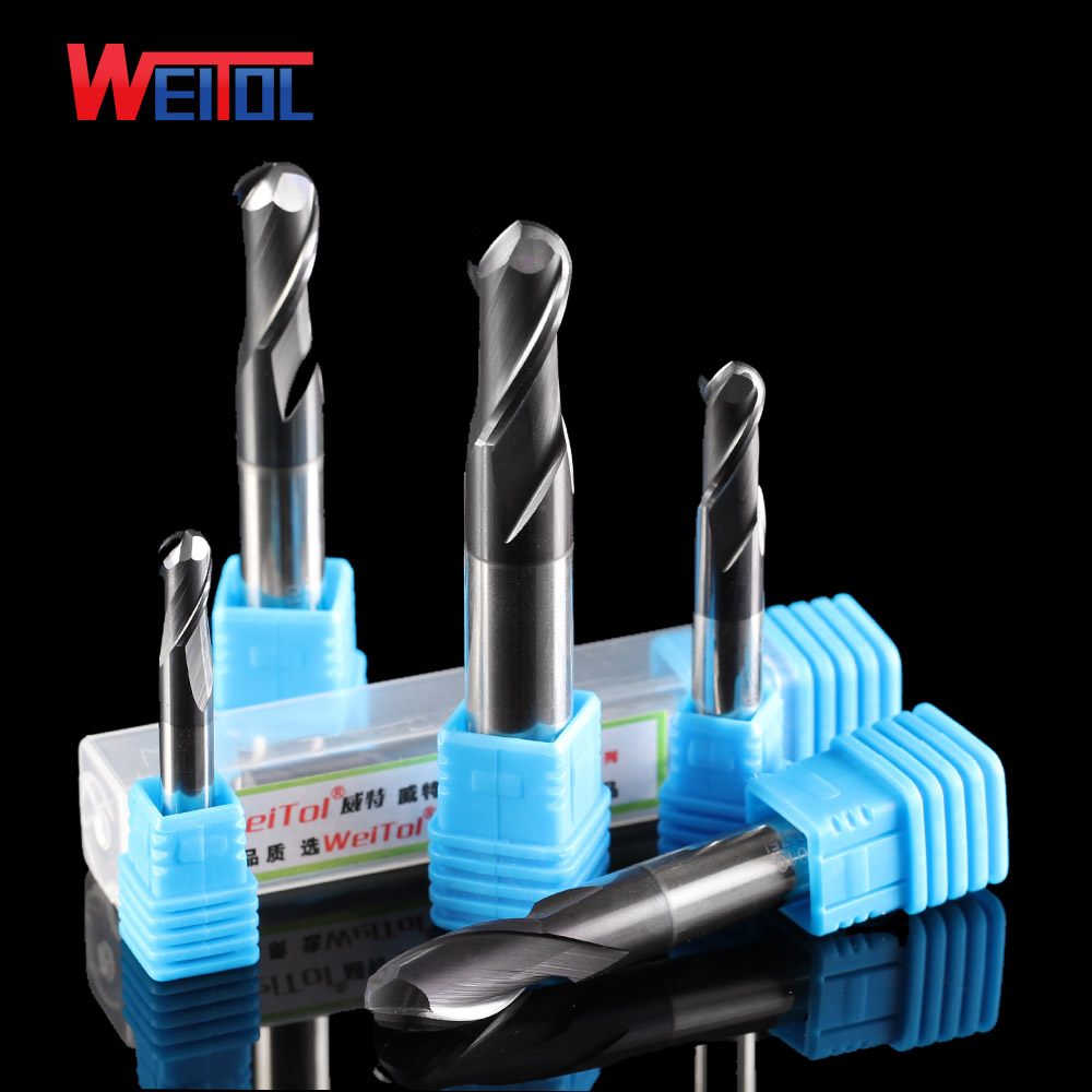Weitol 1pcs HRC50 black coating tungsten carbide four flutes ball nose milling cutter CNC router bit for wood engraving tool 16pcs 14 25mm carbide milling cutter router bit buddha ball woodworking tools wooden beads ball blade drills bit molding tool