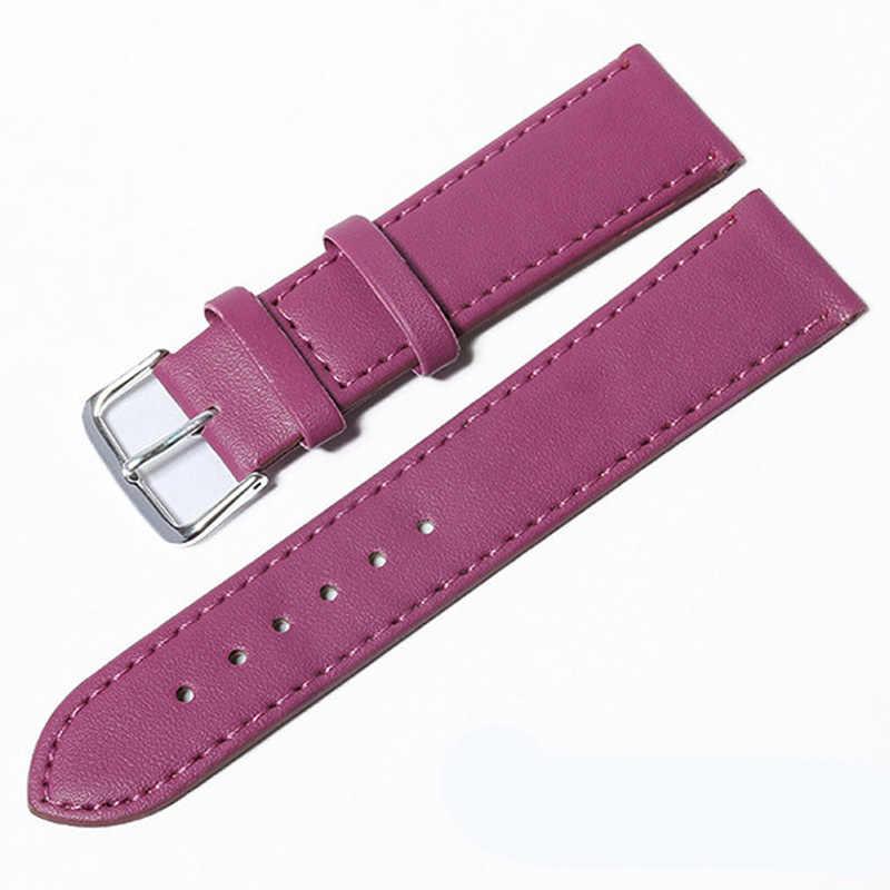 10 צבעים רצועת שעון עור שעונים בנד 12mm 14mm 16mm 18mm 20mm 22mm 24mm עבור נשים גברים Watchbands מוצק צבע שעון חגורות