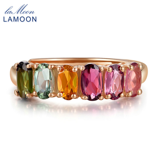 LAMOON 100% Real Natural 6pcs 1.5ct Oval Multi-color Tourmaline Ring 925 Sterlin