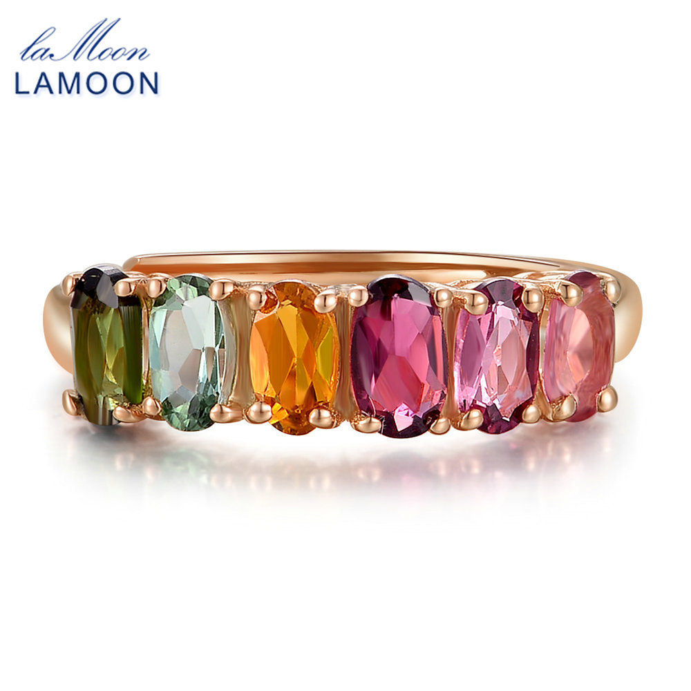 LAMOON 100% Real Natural 6pcs 1.5ct Oval Multi-color Tourmaline Ring 925 Sterling Silver Jewelry with S925 LMRI005