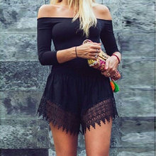 Women Lace Clubwear Off Shoulder Summer Tee Top Blouse Romper Jumpsuit Playsuit Mini Shorts