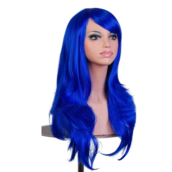 Soowee 70 سنتيمتر طويل الأزرق مجعد تأثيري الباروكة الشعر الاصطناعية الوردي شقراء آدمي الاصطناعية الباروكات لأسود النساء وهمية