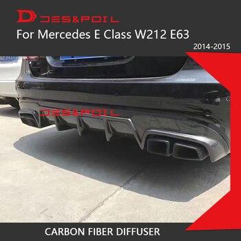 E Klasa W212 Facelift E63 Tylko Amg Tylny Dyfuzor Część Rozdzielająca Nakładki Zderzaka Zderzak Carbon Fiber B Style Dla Mercedesa 2014-2015 Z Rurami Wydechowymi